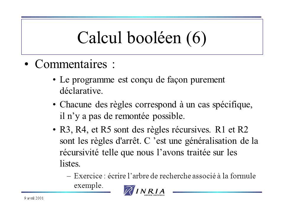 9 avril 2001 Calcul booléen (6) Commentaires : Le programme est conçu de façon purement déclarative. Chacune des règles correspond à un cas spécifique