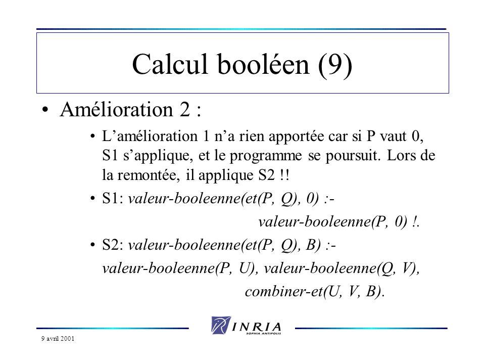 9 avril 2001 Calcul booléen (9) Amélioration 2 : Lamélioration 1 na rien apportée car si P vaut 0, S1 sapplique, et le programme se poursuit. Lors de