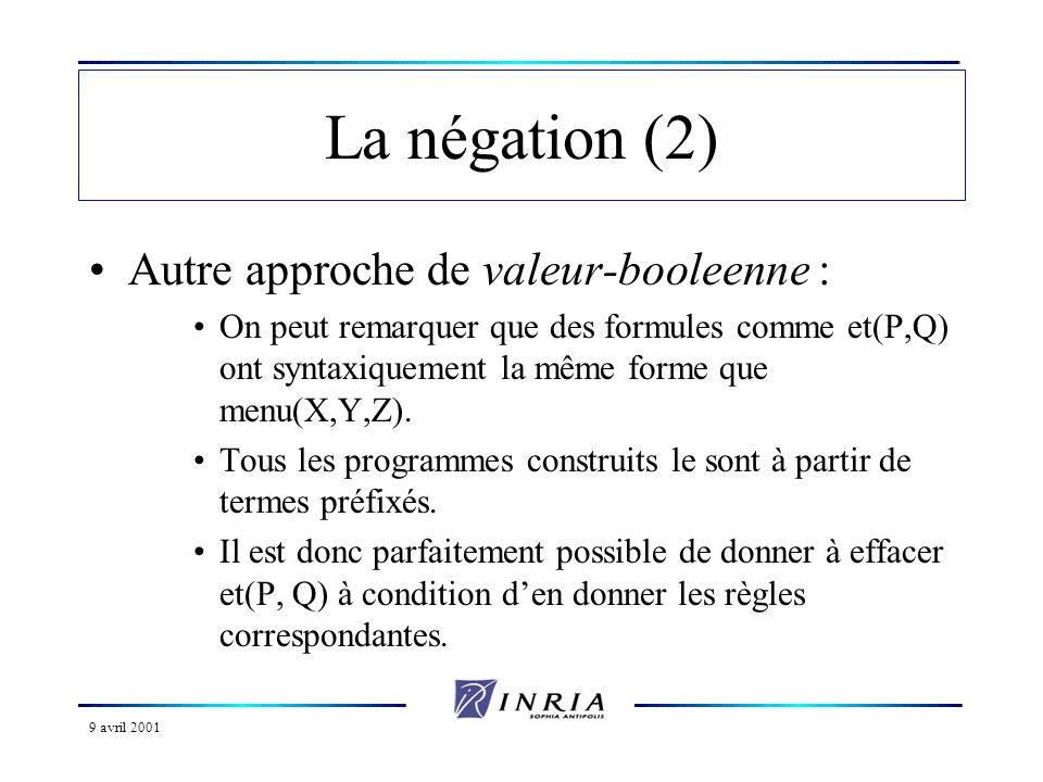 9 avril 2001 La négation (2) Autre approche de valeur-booleenne : On peut remarquer que des formules comme et(P,Q) ont syntaxiquement la même forme qu