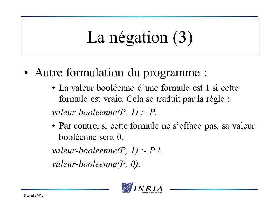 9 avril 2001 La négation (3) Autre formulation du programme : La valeur booléenne dune formule est 1 si cette formule est vraie. Cela se traduit par l