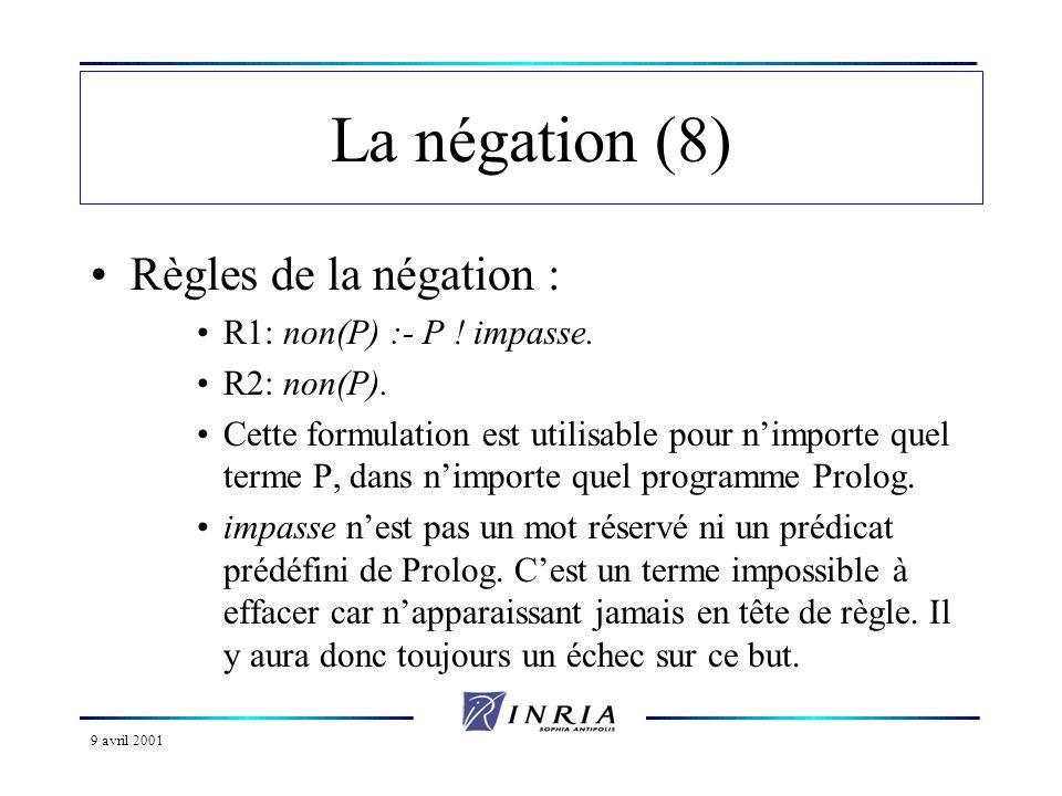 9 avril 2001 La négation (8) Règles de la négation : R1: non(P) :- P ! impasse. R2: non(P). Cette formulation est utilisable pour nimporte quel terme