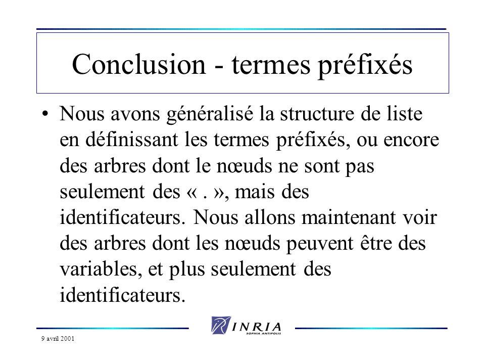 9 avril 2001 Conclusion - termes préfixés Nous avons généralisé la structure de liste en définissant les termes préfixés, ou encore des arbres dont le