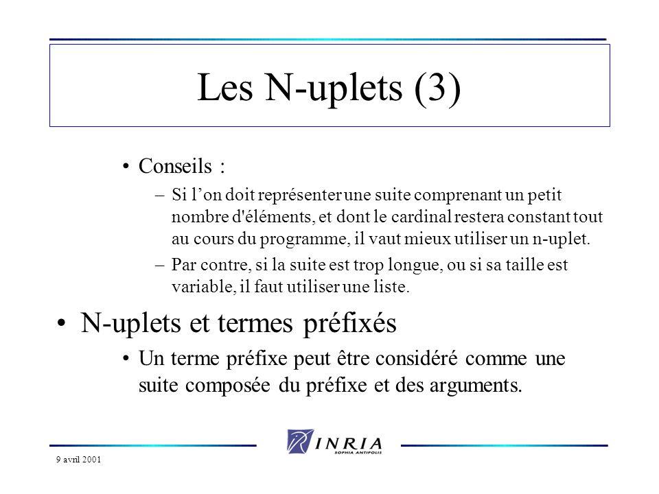 9 avril 2001 Les N-uplets (3) Conseils : –Si lon doit représenter une suite comprenant un petit nombre d'éléments, et dont le cardinal restera constan