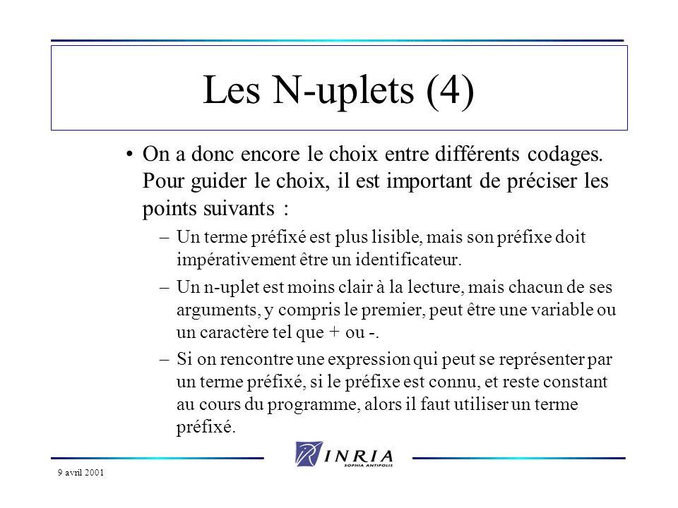 9 avril 2001 Les N-uplets (4) On a donc encore le choix entre différents codages. Pour guider le choix, il est important de préciser les points suivan