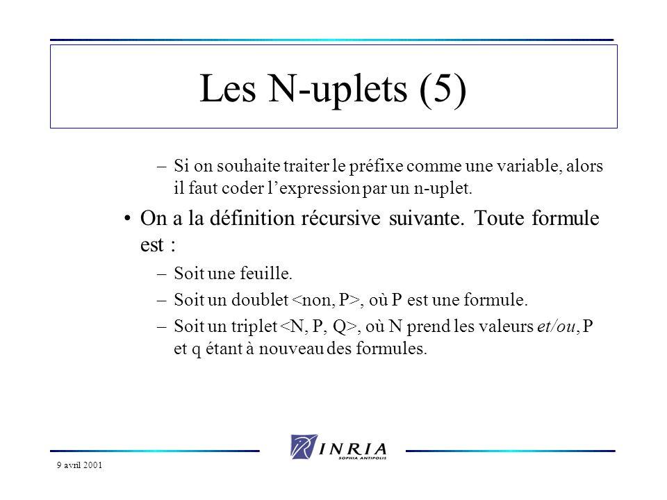 9 avril 2001 Les N-uplets (5) –Si on souhaite traiter le préfixe comme une variable, alors il faut coder lexpression par un n-uplet. On a la définitio