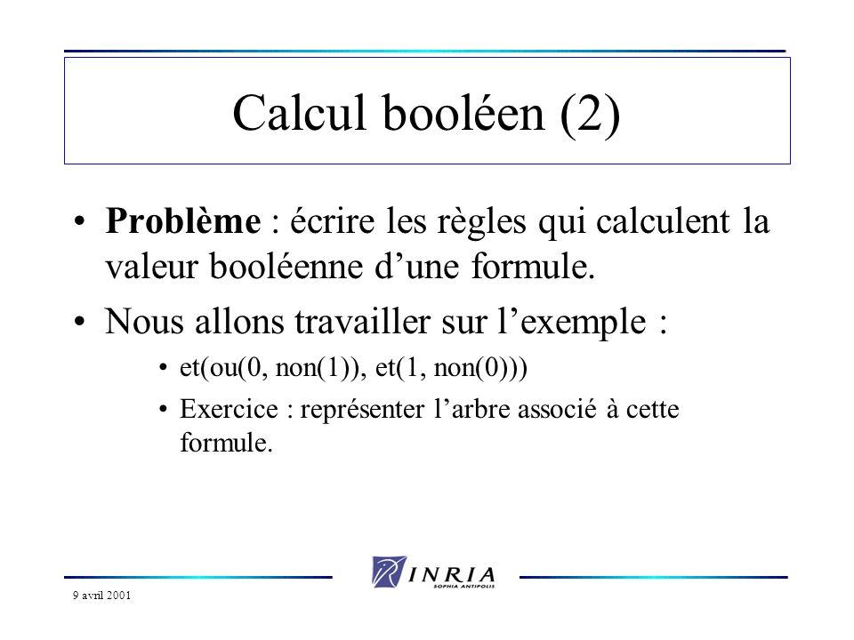 9 avril 2001 Calcul booléen (3) Approche naturelle : appeler les règles valeur-booleenne y faire figurer 2 arguments : la formule à évaluer et le résultat de l évaluation.