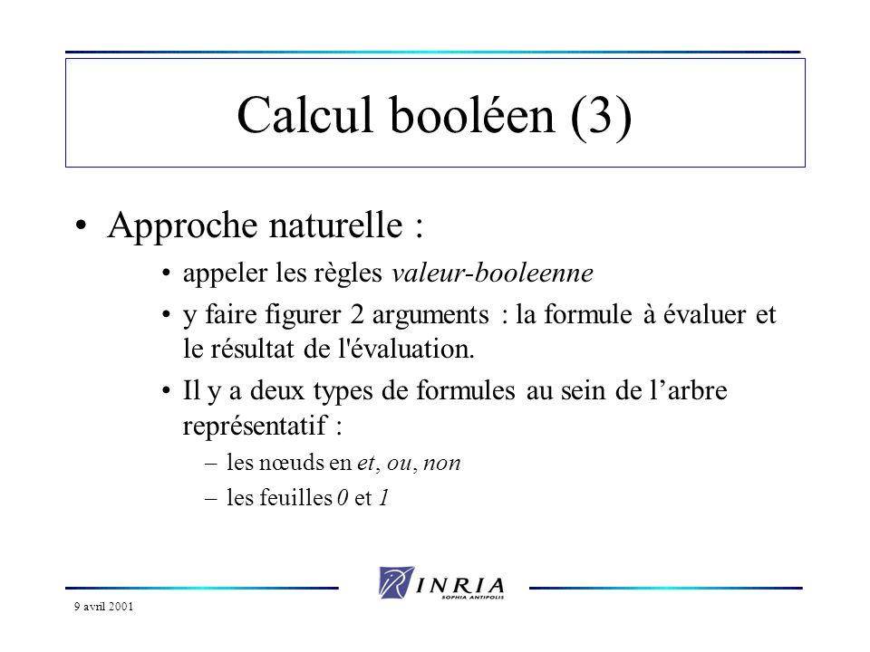 9 avril 2001 Calcul booléen (4) Règles relatives aux feuilles : R1: valeur-booleenne(0, 0).