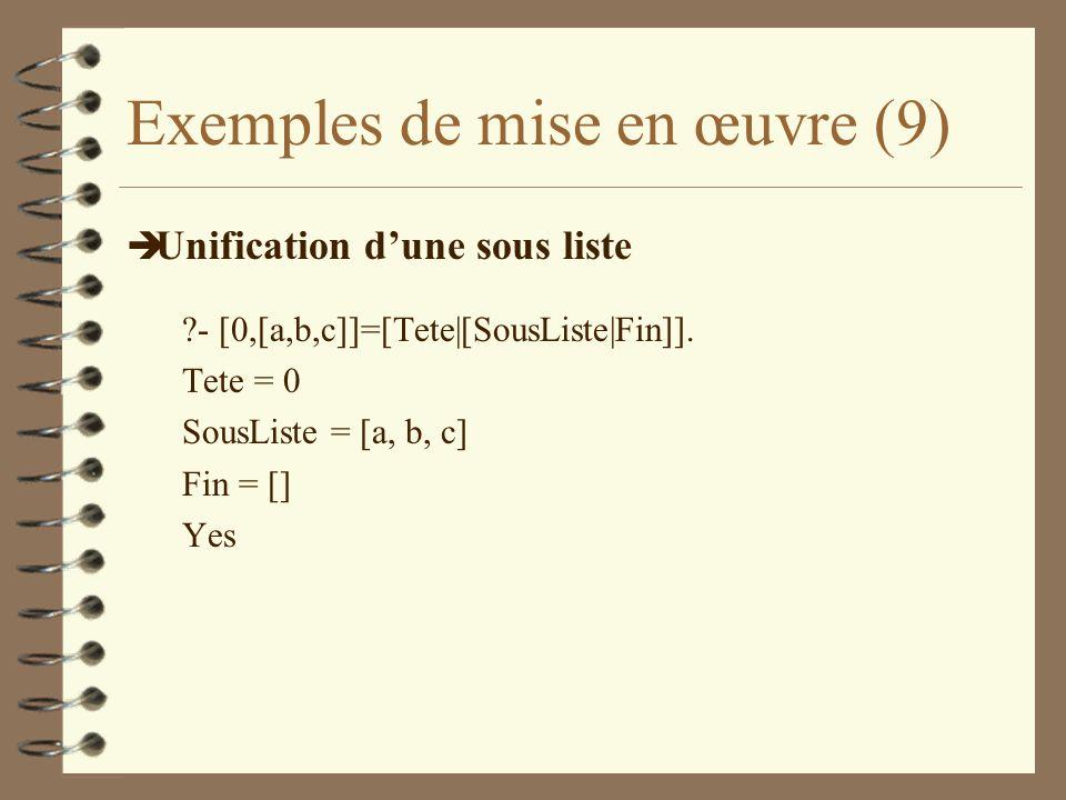 Exemples de mise en œuvre (9) è Unification dune sous liste ?- [0,[a,b,c]]=[Tete|[SousListe|Fin]].