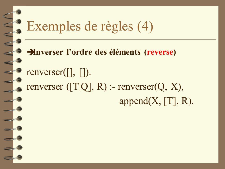 Exemples de règles (4) è Inverser lordre des éléments (reverse) renverser([], []).