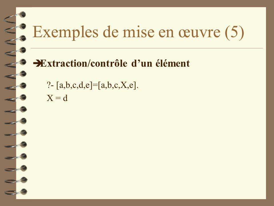 Exemples de mise en œuvre (5) è Extraction/contrôle dun élément ?- [a,b,c,d,e]=[a,b,c,X,e]. X = d