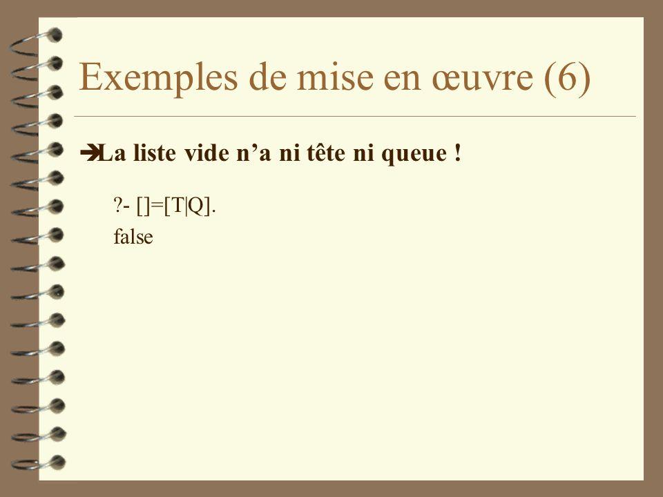 Exemples de mise en œuvre (6) è La liste vide na ni tête ni queue ! ?- []=[T|Q]. false
