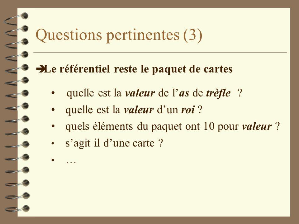 Questions pertinentes (3) è Le référentiel reste le paquet de cartes quelle est la valeur de las de trèfle ? quelle est la valeur dun roi ? quels élém