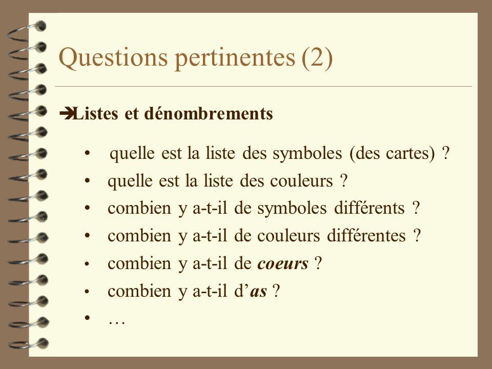 Questions pertinentes (2) è Listes et dénombrements quelle est la liste des symboles (des cartes) ? quelle est la liste des couleurs ? combien y a-t-i