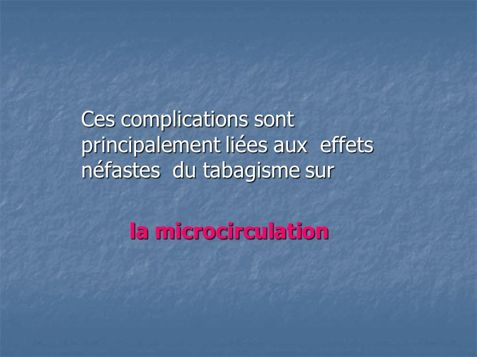 Ces complications sont principalement liées aux effets néfastes du tabagisme sur la microcirculation la microcirculation