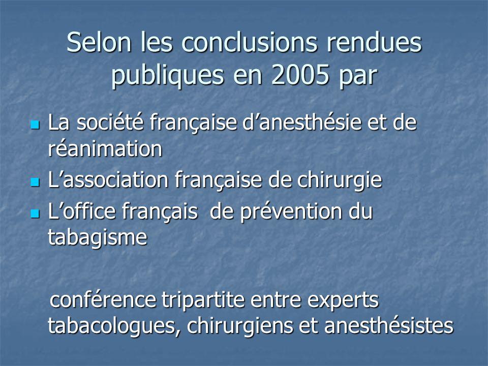 Selon les conclusions rendues publiques en 2005 par La société française danesthésie et de réanimation La société française danesthésie et de réanimat
