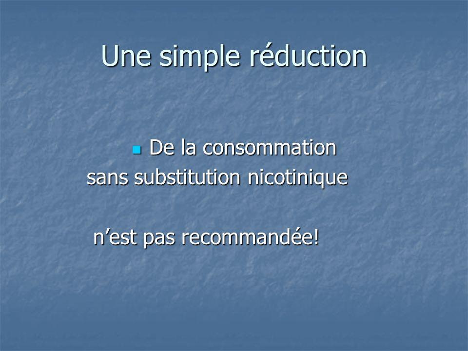 Une simple réduction De la consommation De la consommation sans substitution nicotinique sans substitution nicotinique nest pas recommandée! nest pas