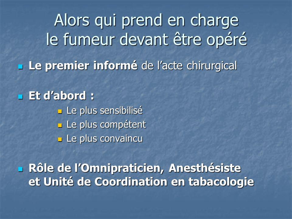 Alors qui prend en charge le fumeur devant être opéré Le premier informé de lacte chirurgical Le premier informé de lacte chirurgical Et dabord : Et d
