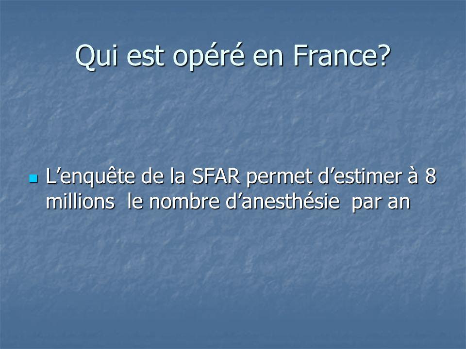 Qui est opéré en France? Lenquête de la SFAR permet destimer à 8 millions le nombre danesthésie par an Lenquête de la SFAR permet destimer à 8 million