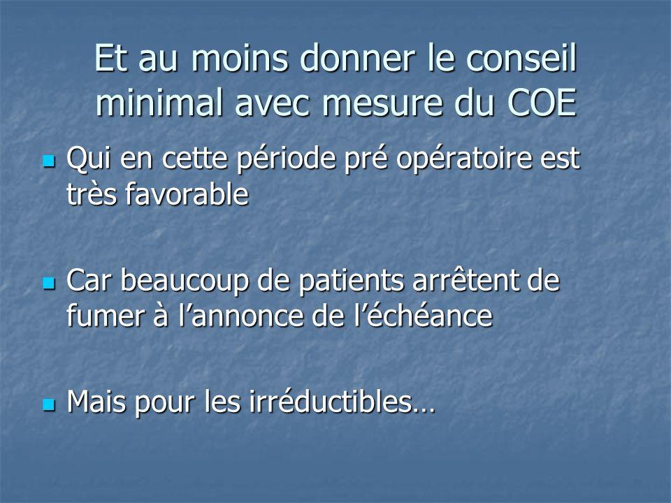 Et au moins donner le conseil minimal avec mesure du COE Qui en cette période pré opératoire est très favorable Qui en cette période pré opératoire es