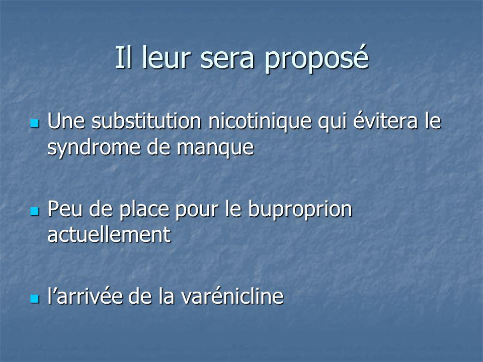Il leur sera proposé Une substitution nicotinique qui évitera le syndrome de manque Une substitution nicotinique qui évitera le syndrome de manque Peu