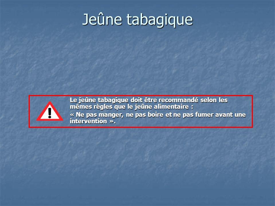 Jeûne tabagique Le jeûne tabagique doit être recommandé selon les mêmes règles que le jeûne alimentaire : « Ne pas manger, ne pas boire et ne pas fume