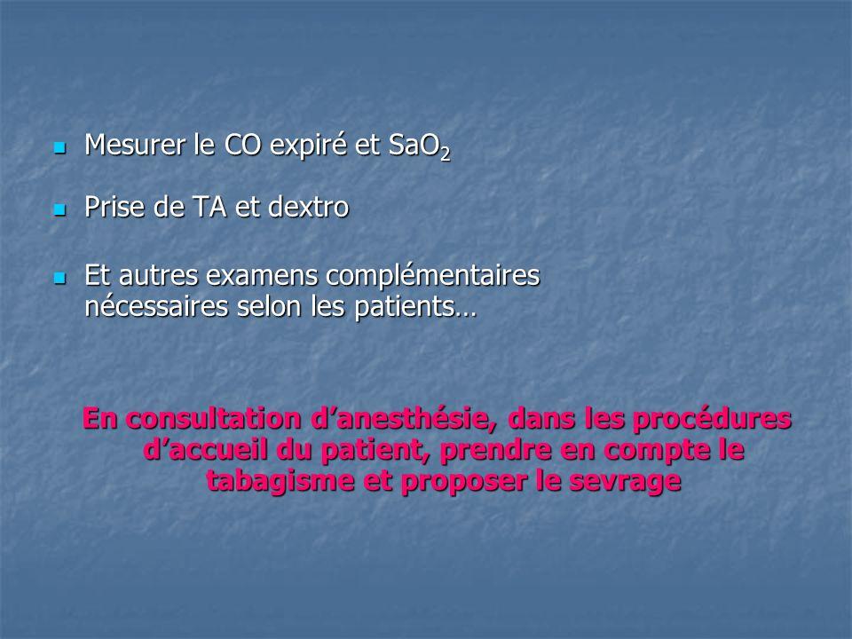 Mesurer le CO expiré et SaO 2 Mesurer le CO expiré et SaO 2 Prise de TA et dextro Prise de TA et dextro Et autres examens complémentaires Et autres ex