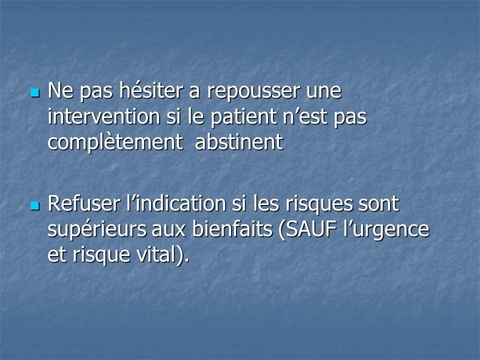 Ne pas hésiter a repousser une intervention si le patient nest pas complètement abstinent Ne pas hésiter a repousser une intervention si le patient ne