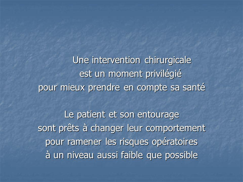 Une intervention chirurgicale Une intervention chirurgicale est un moment privilégié est un moment privilégié pour mieux prendre en compte sa santé Le