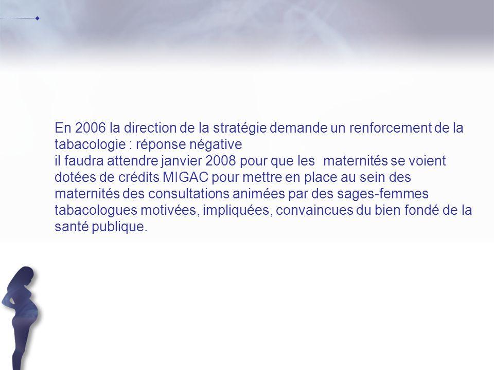 En 2006 la direction de la stratégie demande un renforcement de la tabacologie : réponse négative il faudra attendre janvier 2008 pour que les materni