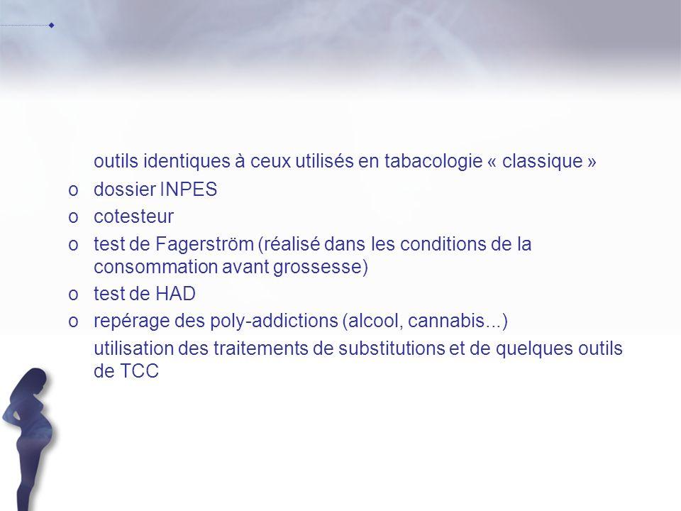 outils identiques à ceux utilisés en tabacologie « classique » odossier INPES ocotesteur otest de Fagerström (réalisé dans les conditions de la consom