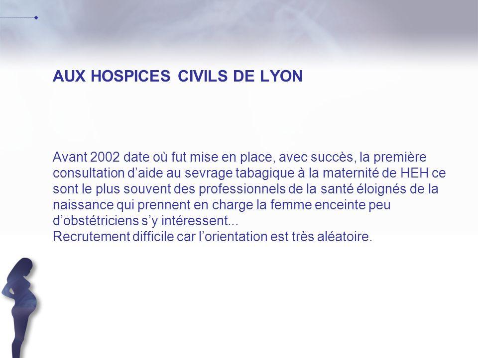 AUX HOSPICES CIVILS DE LYON Avant 2002 date où fut mise en place, avec succès, la première consultation daide au sevrage tabagique à la maternité de H