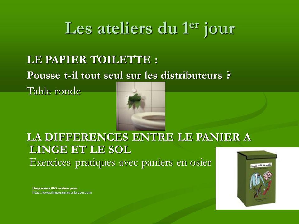 Les ateliers du 1 er jour LE PAPIER TOILETTE : LE PAPIER TOILETTE : Pousse t-il tout seul sur les distributeurs .