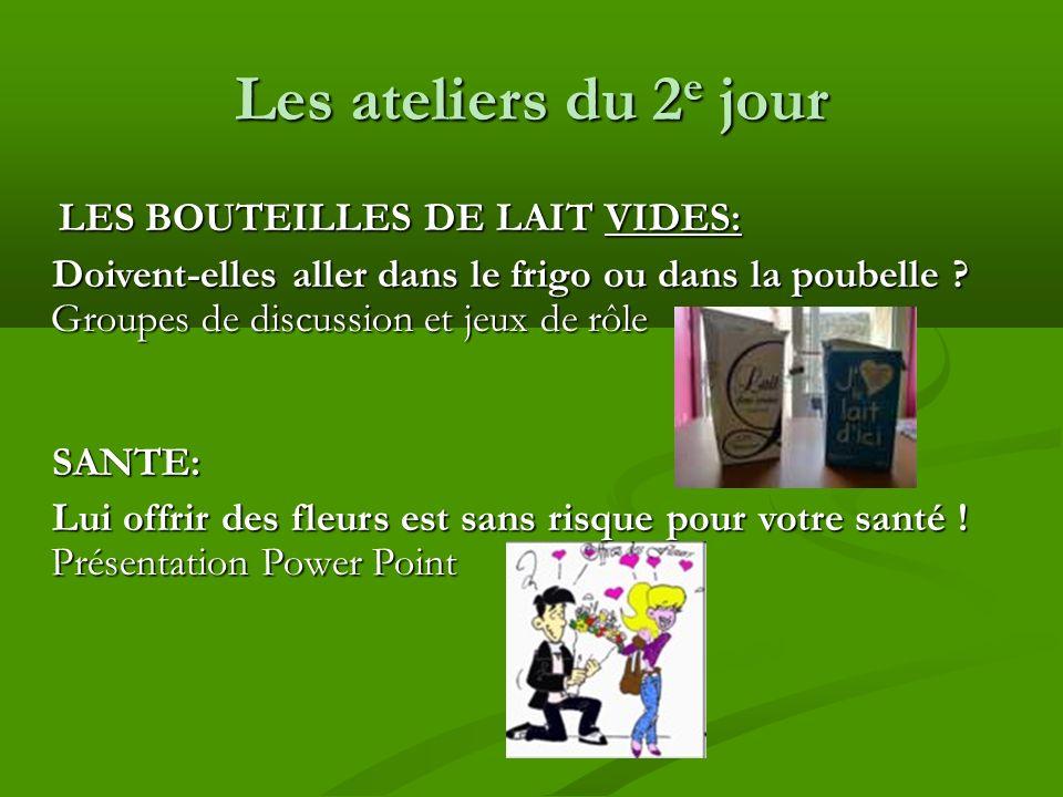 Les ateliers du 2 e jour LES BOUTEILLES DE LAIT VIDES: LES BOUTEILLES DE LAIT VIDES: Doivent-elles aller dans le frigo ou dans la poubelle .