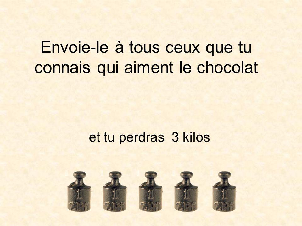 Envoie-le à tous ceux que tu connais qui aiment le chocolat et tu perdras 3 kilos