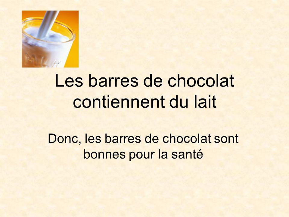 Les barres de chocolat contiennent du lait Donc, les barres de chocolat sont bonnes pour la santé