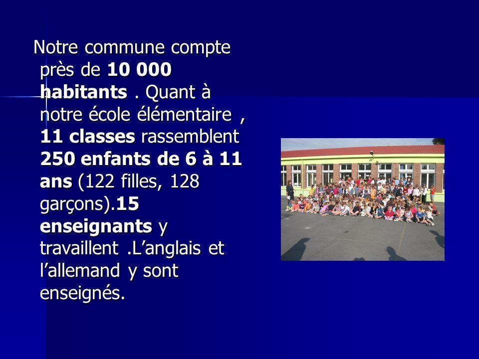 Notre commune compte près de 10 000 habitants. Quant à notre école élémentaire, 11 classes rassemblent 250 enfants de 6 à 11 ans (122 filles, 128 garç