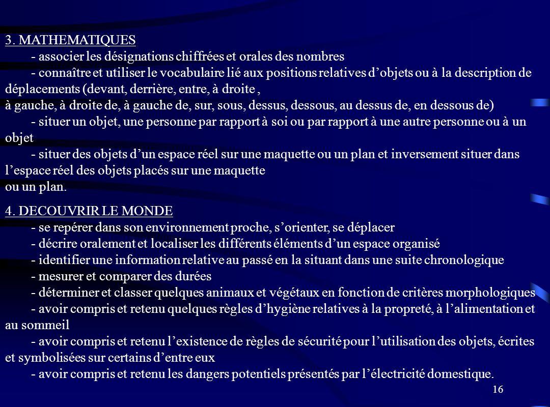 16 3. MATHEMATIQUES - associer les désignations chiffrées et orales des nombres - connaître et utiliser le vocabulaire lié aux positions relatives dob