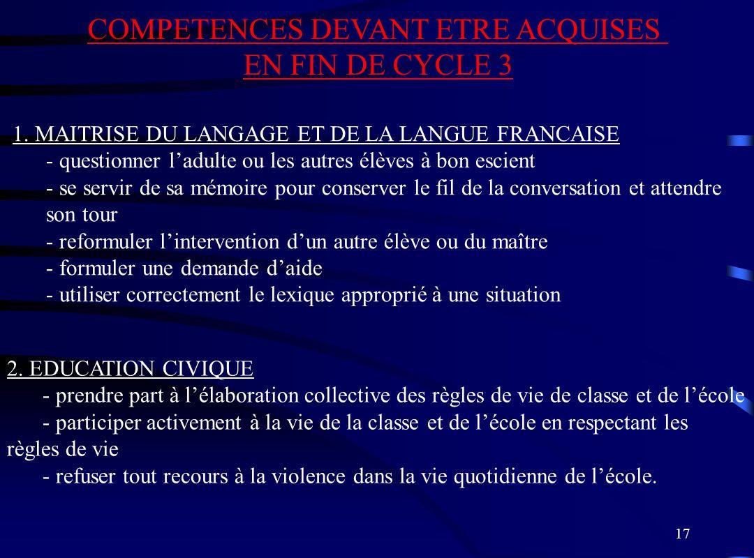 17 COMPETENCES DEVANT ETRE ACQUISES EN FIN DE CYCLE 3 1. MAITRISE DU LANGAGE ET DE LA LANGUE FRANCAISE - questionner ladulte ou les autres élèves à bo