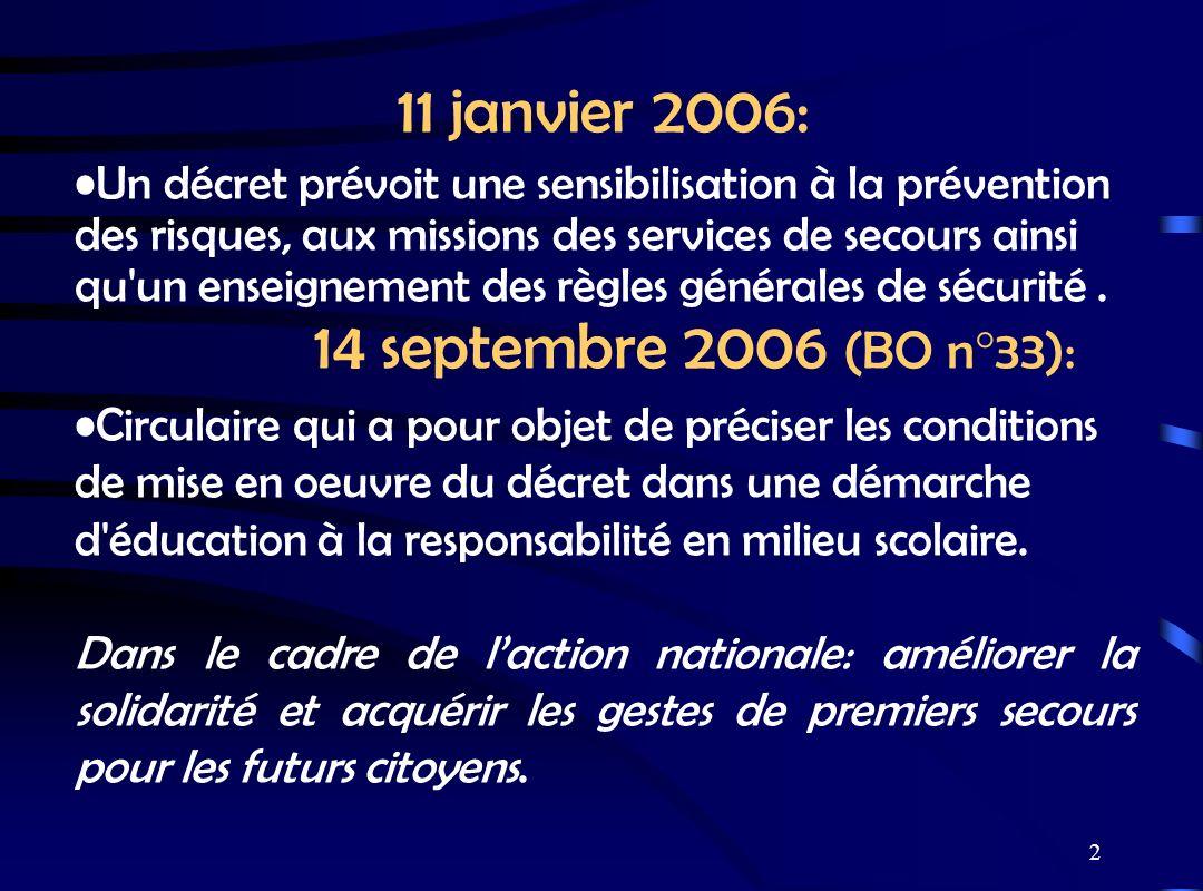 2 11 janvier 2006: Un décret prévoit une sensibilisation à la prévention des risques, aux missions des services de secours ainsi qu'un enseignement de