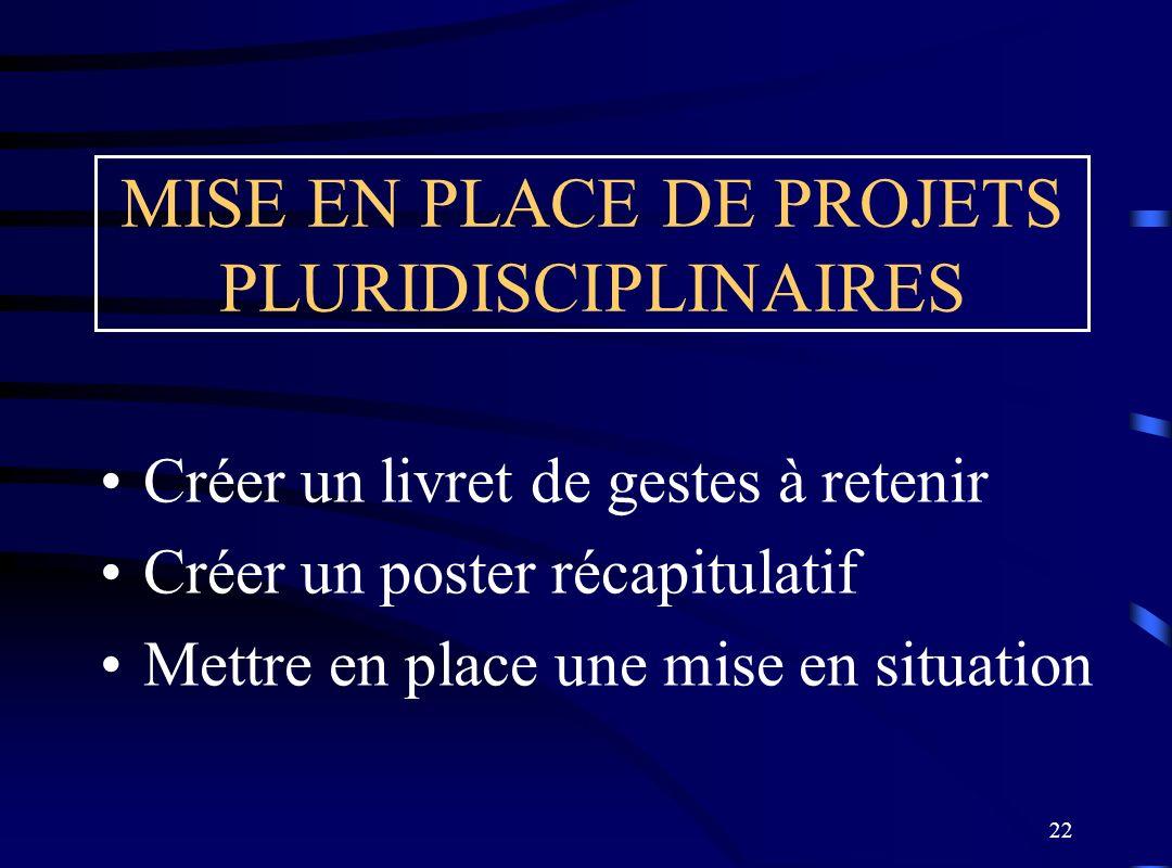 22 MISE EN PLACE DE PROJETS PLURIDISCIPLINAIRES Créer un livret de gestes à retenir Créer un poster récapitulatif Mettre en place une mise en situatio