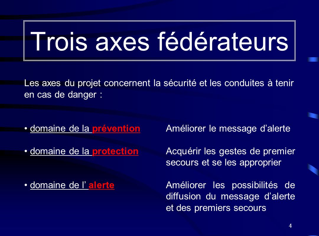 4 Trois axes fédérateurs Les axes du projet concernent la sécurité et les conduites à tenir en cas de danger : domaine de la prévention Améliorer le m