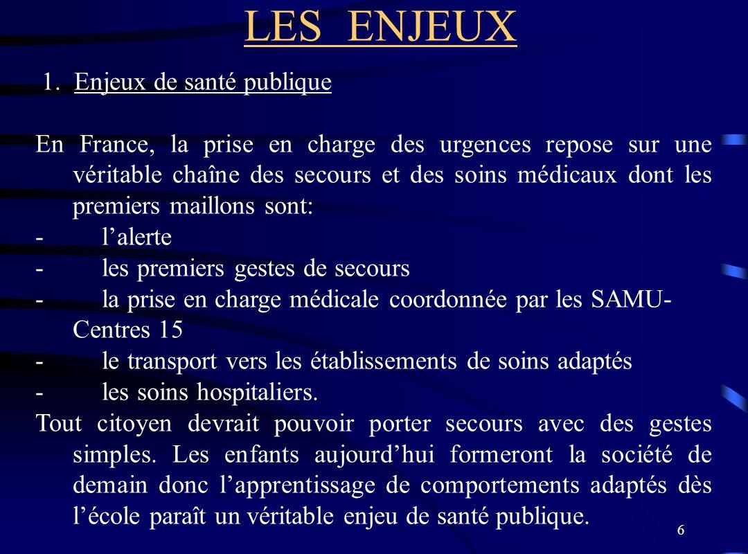 6 LES ENJEUX 1. Enjeux de santé publique En France, la prise en charge des urgences repose sur une véritable chaîne des secours et des soins médicaux