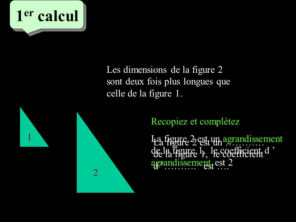 1 er calcul 1 er calcul 1 er calcul 1 2 Les dimensions de la figure 2 sont deux fois plus longues que celle de la figure 1. La figure 2 est un agrandi
