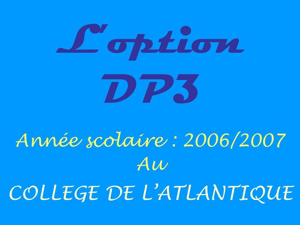 Loption DP3 Année scolaire : 2006/2007 Au COLLEGE DE LATLANTIQUE