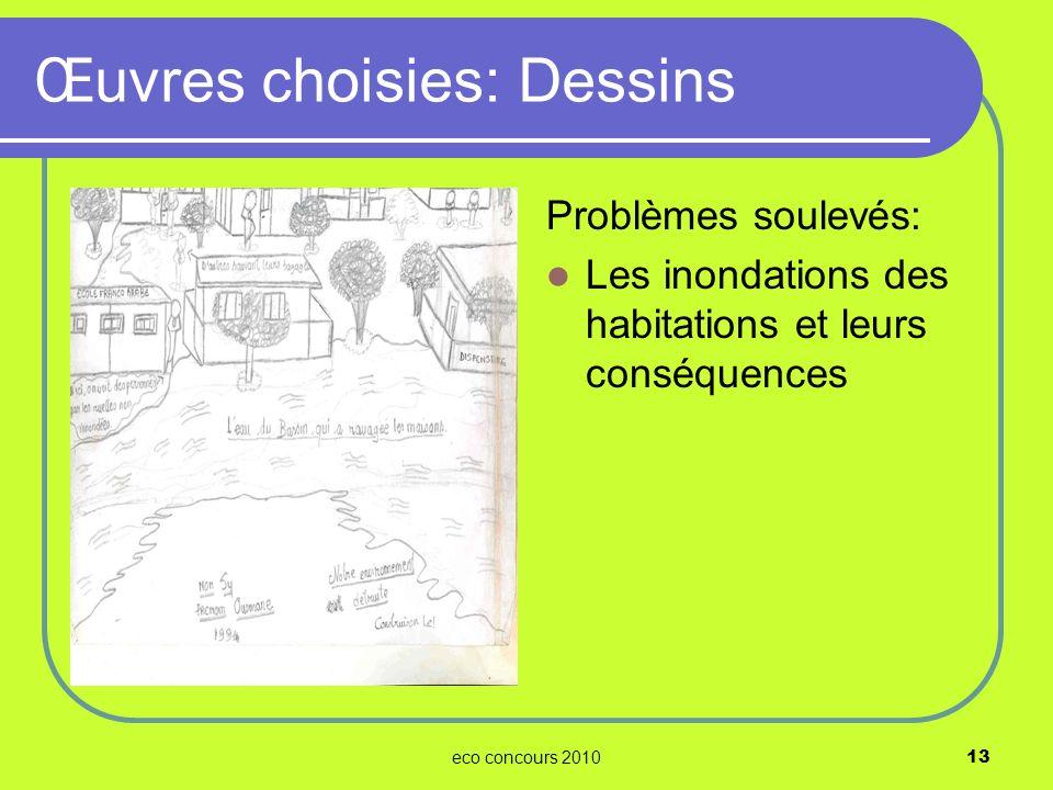 eco concours 201013 Problèmes soulevés: Les inondations des habitations et leurs conséquences Œuvres choisies: Dessins