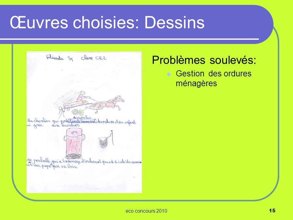 eco concours 201015 Problèmes soulevés: Gestion des ordures ménagères Œuvres choisies: Dessins