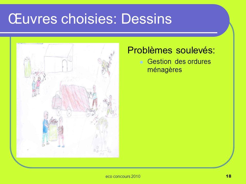 eco concours 201018 Problèmes soulevés: Gestion des ordures ménagères Œuvres choisies: Dessins