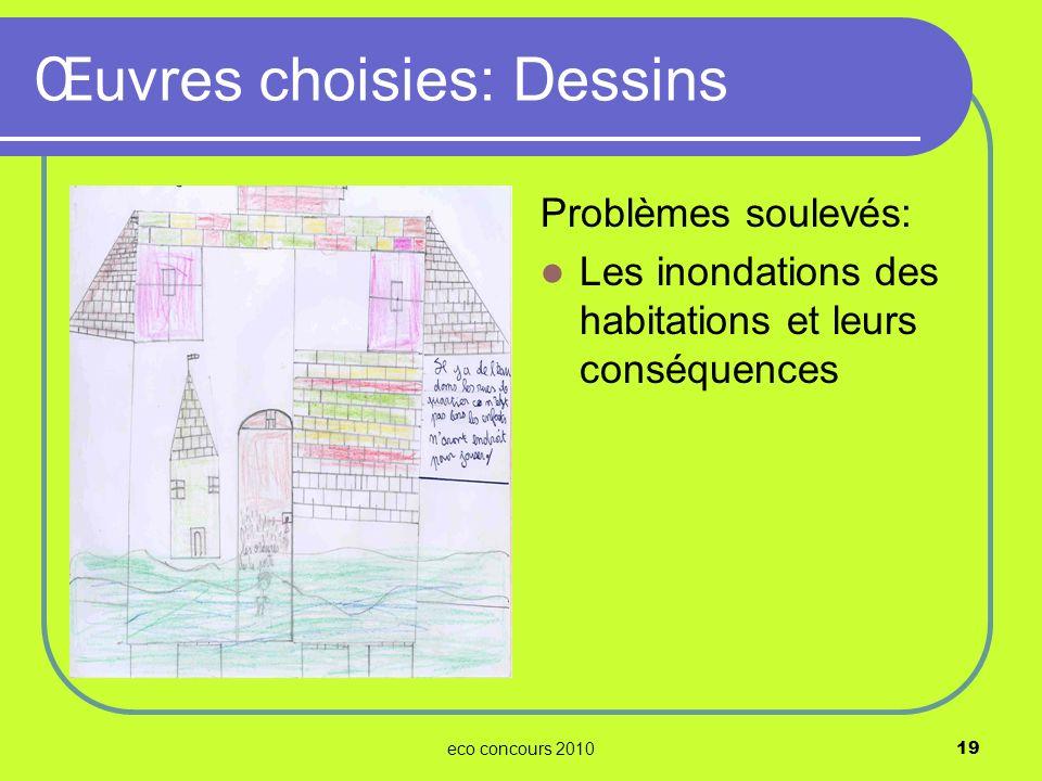 eco concours 201019 Problèmes soulevés: Les inondations des habitations et leurs conséquences Œuvres choisies: Dessins