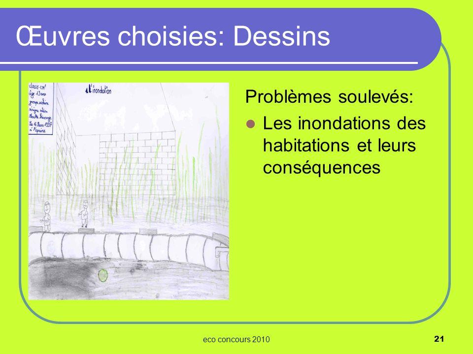 eco concours 201021 Problèmes soulevés: Les inondations des habitations et leurs conséquences Œuvres choisies: Dessins