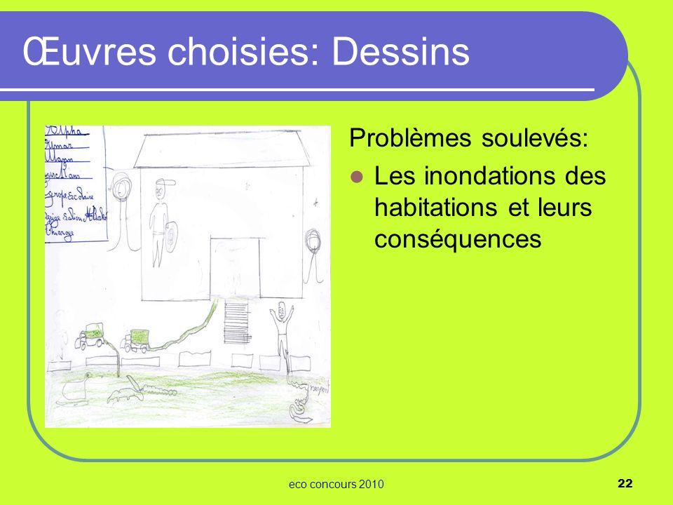 eco concours 201022 Problèmes soulevés: Les inondations des habitations et leurs conséquences Œuvres choisies: Dessins